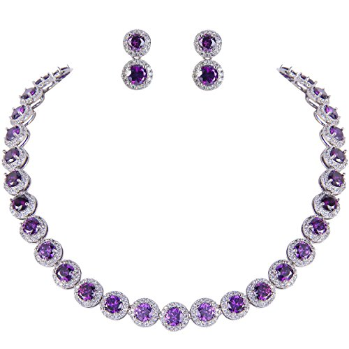 (EVER FAITH Silver-Tone Round Cubic Zirconia February Birthstone Row Necklace Earrings Set Amethyst Color)