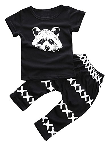 LQVOG Summer Baby Boy Cotton T-shirt+pants 2pcs Clothes Set (100cm, black) (80s Clothing For Men)