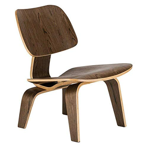 FidgetGear Molded Plywood Lounge Chair with Wood Base, mid Century Modern Eames Style Walnut One Size