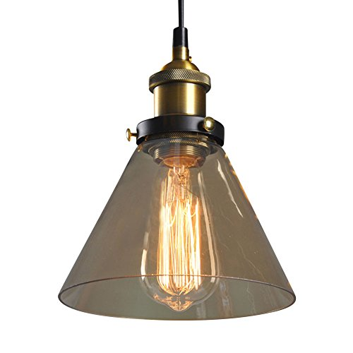 Cozyle Industrial Vintage Style Edison Pendant Hanging Light Glass Amber Triangle (Amber Triangle Pendant)