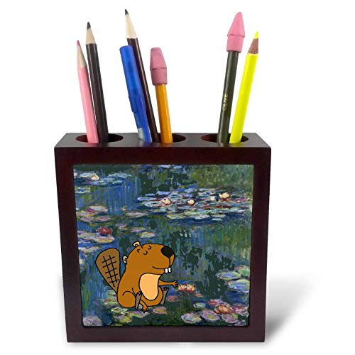 3dRose All Smiles Art - Funny - Funny Cute Beaver in Monet Water Lilies Art - 5 inch Tile Pen Holder (ph_317013_1) (Tile Beaver)
