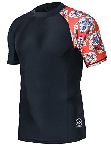 HUGE SPORTS Men's Splice UV Sun Protection UPF 50+ Skins Rash Guard Short Sleeves(Blue, M)
