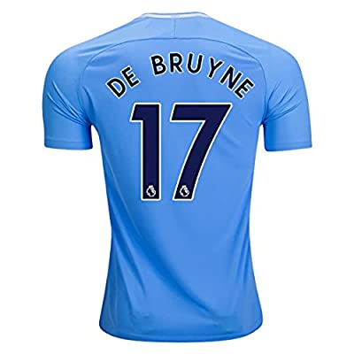 Eleneo New 17/18 De Bruyne 17 Manchester City Home Soccer Jersey Mens Blue Color Size M