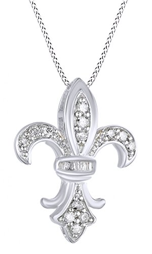 AFFY 1/4 Ct Cubic Zirconia Fleur-de-Lis Pendant in 14K White Gold Over Sterling Silver