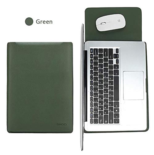 15.4 inch Laptop Sleeve Case,PU Leather Sleeve Bag Case Laptop Notebook Cover Skin for Apple MacBook Air Pro - Green