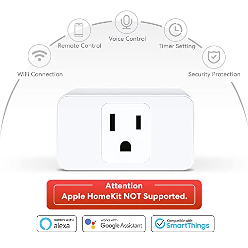 Meross Wi-Fi Smart Plug Mini, 15 Amp & Reliable Wi-Fi Connection, Support Alexa, Google Assistant and SmartThings, Remote Control, Timer, Occupies Only One Socket, 4 Pack