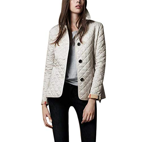 (Women Lightweight Quilted Diamond Jacket Solid Warm Barn Style Coat Tops with Pocket)