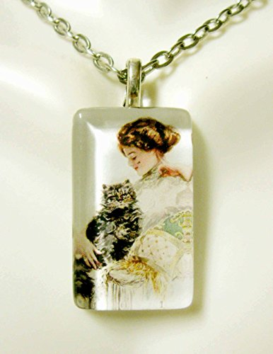 (Beautiful girl with her cat glass pendant - CGP09-091)