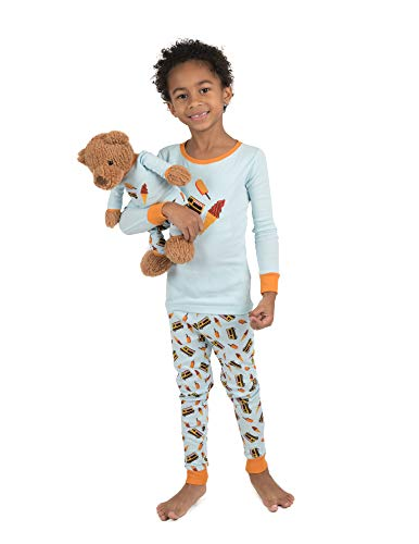 Leveret Kids & Toddler Pajamas Matching Doll & Girls Pajamas 100% Cotton Pjs Set (Toddler-14 Years) Fits American Girl (12 Years, Light Blue) from Leveret