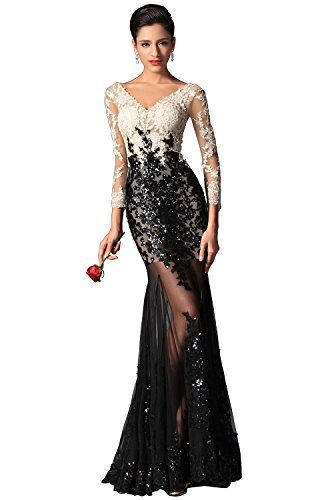 82611d3133c2 eDressit Sexy V-cut Sequin Lace Sleeves Evening Prom Ball Gown (02149100)