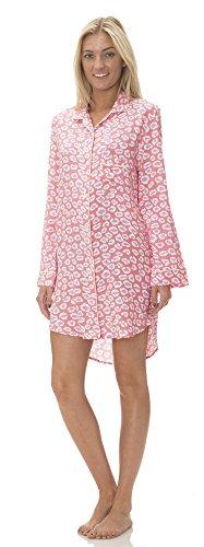 (C51061PD) Pajama Drama Women's Super Soft Button Down Notched Collar Sleepshirt in Melon Size: M