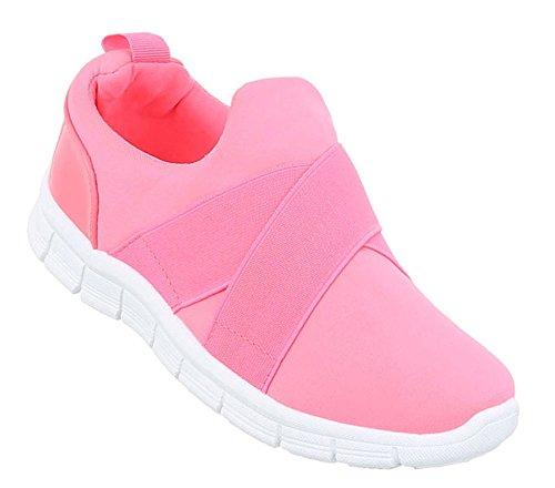 Unisex Sneaker Low   Damen Herren Sneakers   Laufschuhe Slipper   Bequeme Freizeit Schuhe   Sportschuhe Leder-Optik   Stretch Riemen   Schuhcity24 Pink