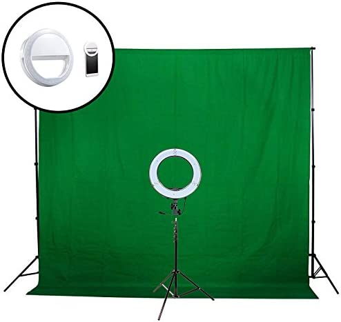 6x9 Background Stand 7x6 Fodoto 13 inch feet feet Green Backdrop LED Diva Ring Light