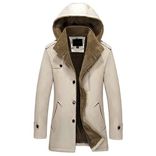 Comfortable Jacket Winter fashion Coat Thicken Buckle Khaki HX Hooded Long Jacket Men's Single Jacket Breasted Sizes Warm Coat Slim Sleeve Down Clothing PBtHfwAxHq