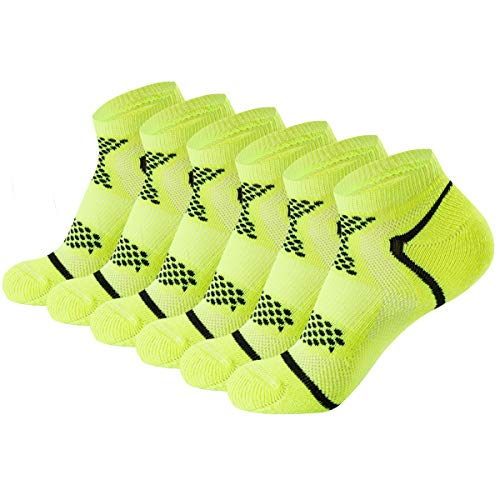 AIRSTROLL Low Cut Socks for Men Women No Show Cushioned Performance Athletic Ankle Socks 6 Pairs(Green,L/XL) (Neon Socks No Show)