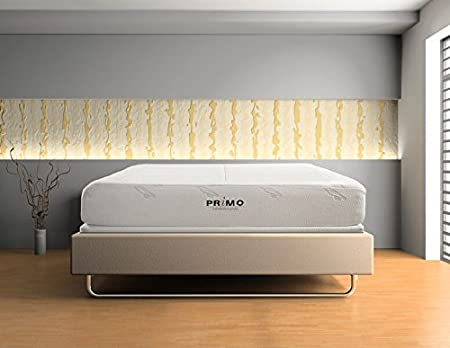 Grey Primo International Dream Collection Allure 10-Inch Memory Foam Mattress with Beige Jacquard Velour Cover Full