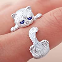 A.Yupha Womens Anti Silver Animal Cat Ring Kitty Adjustable Ring Blue Eyes Jewelry