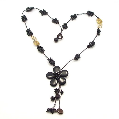 AeraVida Long Drop Simulated Black Onyx Flower & Brass Deco Cotton Wax Rope Necklace