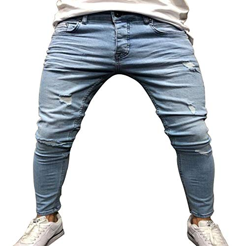 Pantaloni Skinny Uomo Jeans Strappati Fit Guiran Azzurro Elasticizzati Stampa Slim 4IYwOI7Bq