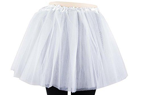 Damen Tütü Tutu Minirock Petticoat Tanzkleid Ballettrock Pettiskirt Unterrock in verschiedenen Farben (Weiß)