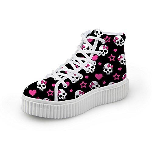 Kramar Idé Mode Skallen Skor Med Höga Klackar Kvinnliga Plattform Sneakers Skull 1