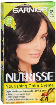 Garnier Nutrisse Haircolor, Soft Black 1 ea (Pack of 6)