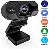 HD Pro Webcam, TedGem 8MP Fixed Focus 4K/1080P Full HD Webcam USB Webcam Desktop Laptop Camera Live Streaming Webcam Built-in Mic Widescreen HD Video Webcam, Flexible Rotatable Clip[Upgraded Version]…