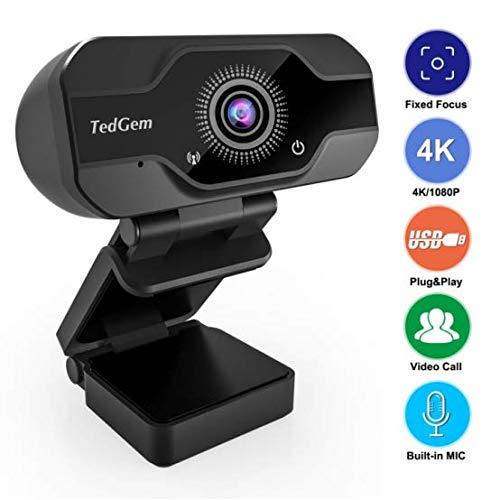 HD Pro Webcam, TedGem 8MP Fixed Focus 4K/1080P Full HD Webcam USB Webcam Desktop Laptop Camera Live Streaming Webcam Built-in Mic Widescreen HD Video Webcam, Flexible Rotatable Clip[Upgraded Version]... (Fixed Focus Webcam)