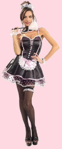 Sexy Womens Costume Outfit French Maid Corset Dress Adult XS (fits sizes (French Maid Corset Costume)