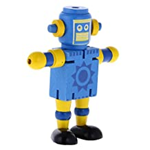 MagiDeal Mini Wooden Walnut Robot Toy Kids Gift Toy Walnut People Decor Blue