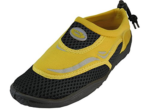 Cambridge Velge Mens Lukket Tå Slip-on Mesh Hurtigtørr Snor Vann Sko Sort / Gul