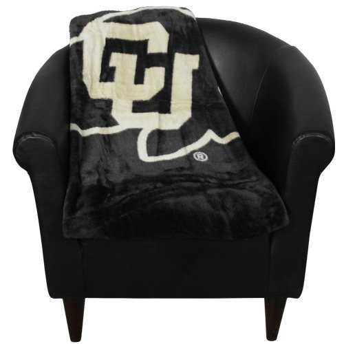 Throw Blanket 50x60 Raschel Micro (Officially Licensed NCAA Colorado Buffaloes School Spirit Plush Raschel Throw Blanket, 50