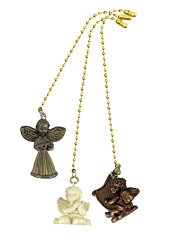 Decorative Praying Angel, Harp Angel, Music Angel Ceiling fan pull with beaded chain - 3 Pack - FA255