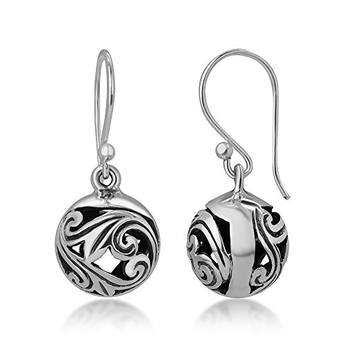 925 Oxidized Sterling Silver Bali Inspired Open Filigree Puffed Ball Dangle Hook Earrings 0.8""