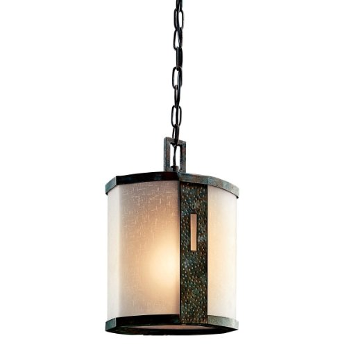Kichler Lighting 49049OI Montara 1-Light Outdoor Pendant, Olde Iron with Textured Linen Glass and Umber-Etched Inner Glass Cylinders (Olde Iron Outdoor Pendant)