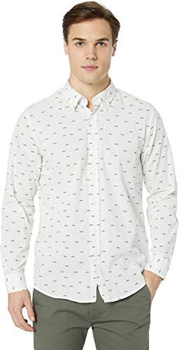 Ben Sherman Men's LS Trumpet Print Shirt, White - Sleeve Long Trumpet