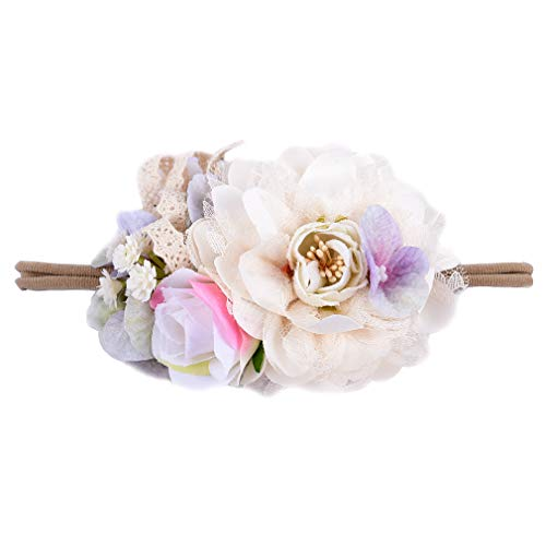 Headband Flower Bow - DEEKA Flower Crown Newborn Hair Bows Floral Headband for Baby Girl - Ivory
