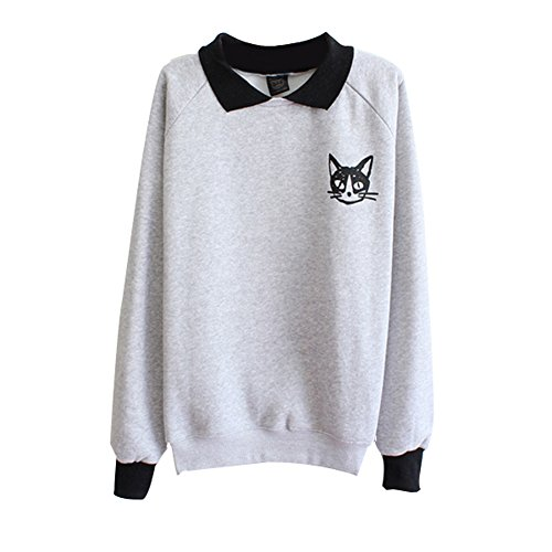 Froomer-Teen-Girls-Cat-Print-Sweatshirt-Long-Sleeve-Blouse-Loose-Sweater-Shirt