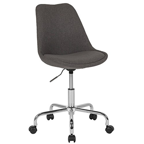 Flash Furniture Aurora Series Mid-Back Dark Gray Fabric Task Chair with Pneumatic Lift and Chrome Base ()