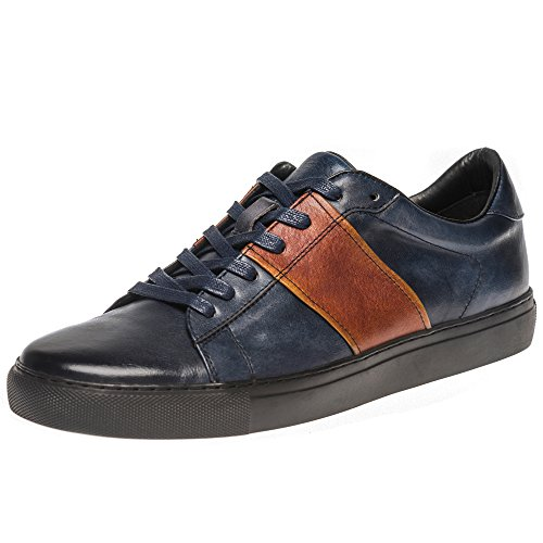 Calf Leather Sneaker (Yolkomo Men's Top Grain Leather Fashion Sneakers Low-Top Casual Breathable Shoes Blue/Brown US9)