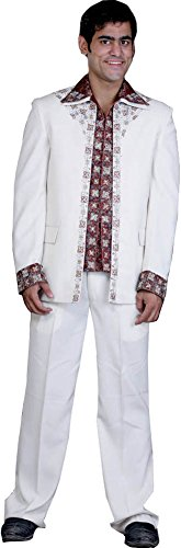 Exotic India Ivory and Burgundy Jodhpuri Three Piece Suit Hand-Embroidered with
