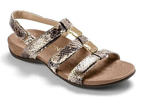 Vionic Womens Rest 44 Amber Natural Snake Synthetic Sandals 6 C/D US ()