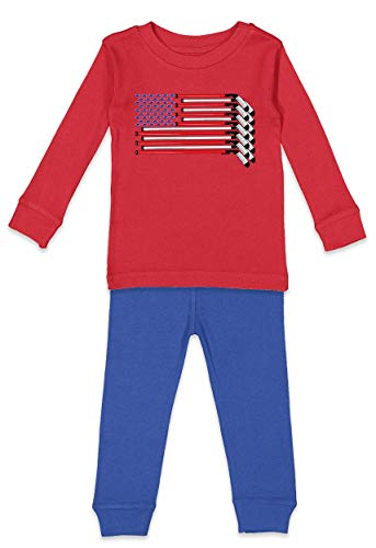 HAASE UNLIMITED Hockey Sticks American Flag - USA Sports Infant/Toddler Pajama Set (Red Top/Royal Blue Bottoms, 2T)