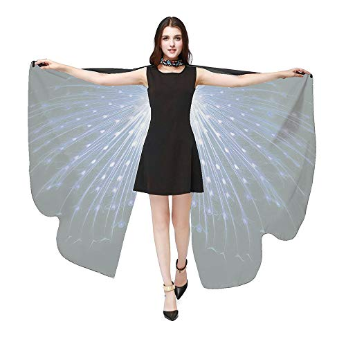 POQOQ Christmas Soft Fabric Butterfly Wings Shawl Fairy Ladies Cloak with Mask 168135CM Blue -