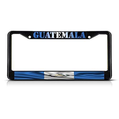 AMZ Decorative Frames Guatemala Guatemala Wavy Flag Black Aluminum Metal License Plate Frame, License Plate Cover with Screw Caps, Auto Car Tag Frame Holder for US Standard