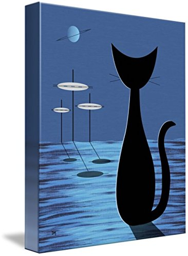 Wall Art Print entitled Space Cat In Blue by Donna Mibus