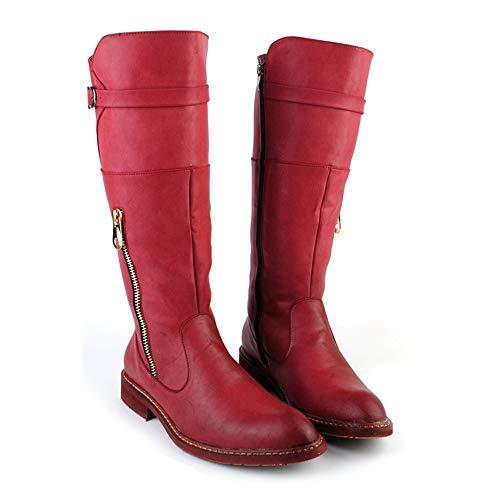 En Cremallera Hombres Hasta Combate Rodilla Lateral Rojo Altas Zapatos Los La Botas Resbalón De Shennanji Británico Estilo Del Pu Moda wzOqPP