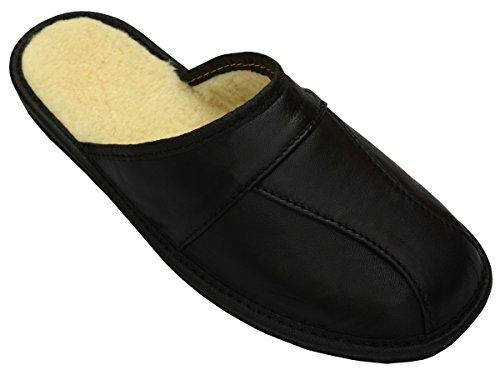 Herren Natürlichem 100 % Leder Wolle Hausschuhe Pantoletten Geschenkkarton (Wahlweise) Modell MI51