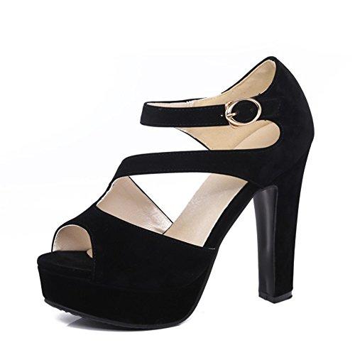 Sandalias de los Zapatos de Las Mujeres 2018 Plataforma Impermeable Atractiva del Verano, Hebilla del tacón Grueso de la Cabeza de los Pescados del Alto talón Hebillas Grandes diarias 31-43