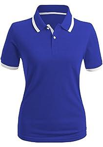 CLOVERY Women's Polo Shirt Casual 2-Button Short Sleeve Point Collar